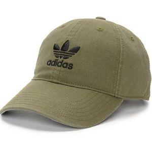 ADIDAS ORIGINALS, OLIVE W/ BLACK TREFOIL LOGO HAT